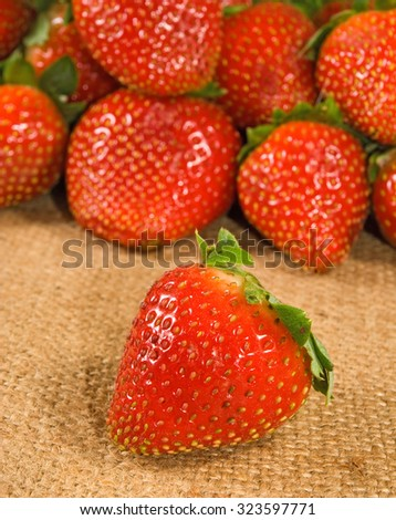 image of a ripe strawberry on a white background close-up - stock photo