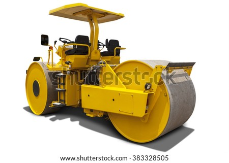 Image of a roller compactor machine with yellow color, isolated on white background