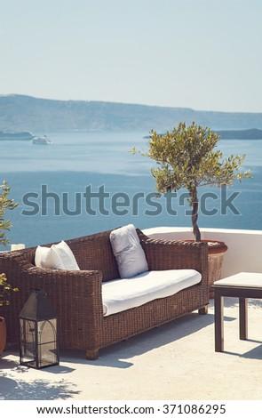 Image of a romantic patio with sea view. Samtorini, Greece.  - stock photo