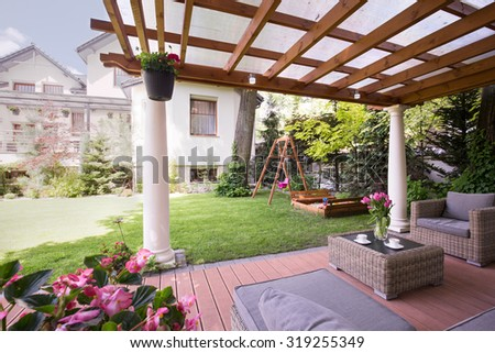 Image of a romantic place to relax in garden - stock photo
