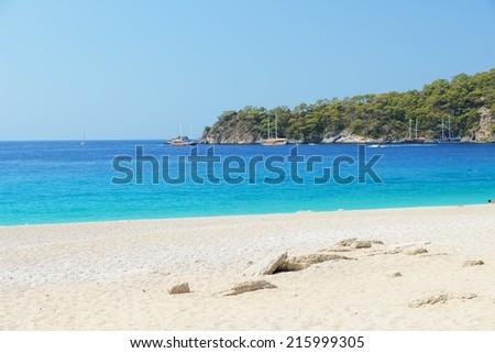 Image of a sandy beach in Olu Deniz, Turkey - stock photo