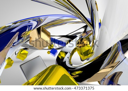 Image of a set of spheres and cubes of gold, silver, platinum, chrome, hovering between gold twisted ribbons, 3d rendering