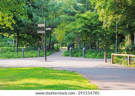 Image of a signpost in a nature reserve - stock photo