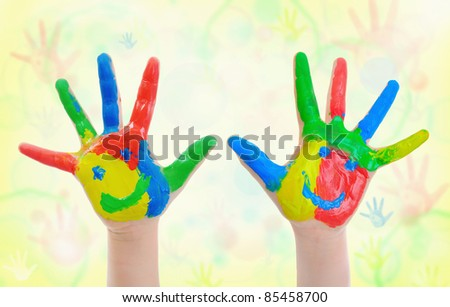 image of a small hand painted child. - stock photo