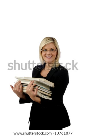 Image of a smiling young librarian carrying books - stock photo