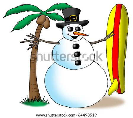 Image of a snowman holding a surfboard next to a palm tree.