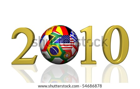 Image of a soccer ball and the year 2010 with flags from various nations. - stock photo