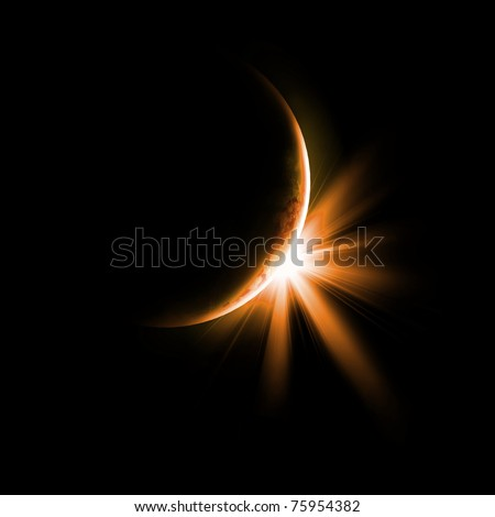 Image of a solar eclipse. Illustration on a dark background - stock photo