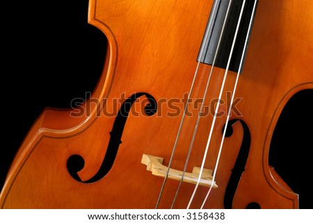 Image of a standup bass or double bass, on a black background.