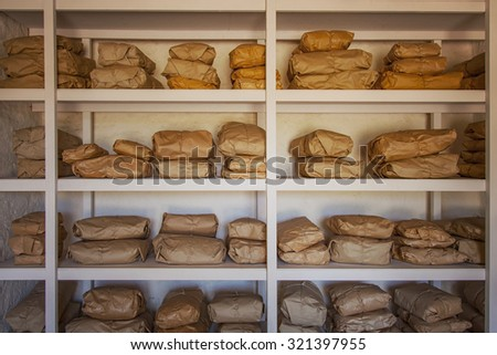 Image of a storage room full with packages.  - stock photo