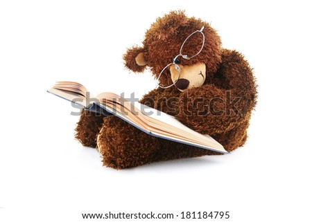 Image of a stuffed bear reading a book isolated on white - stock photo