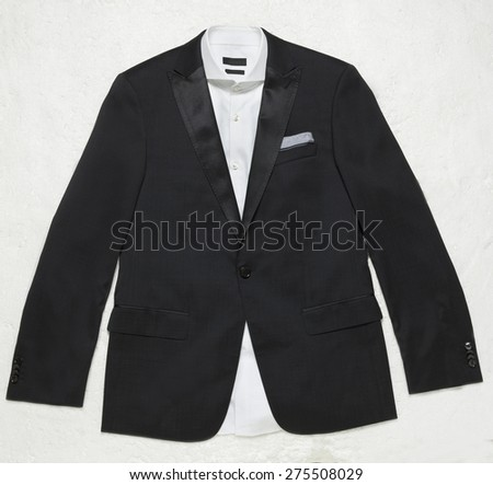 Image of a suit with white shirt and a hanky - stock photo