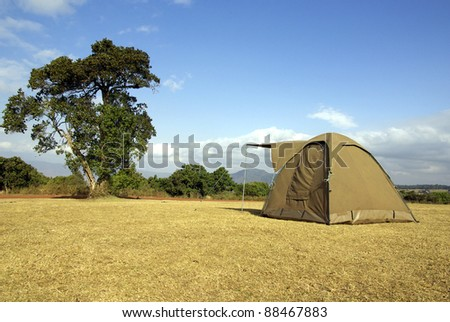 Image of a tent in a wild camping - stock photo