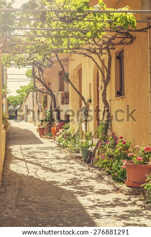 Image of a traditional Cretan village back street.  - stock photo