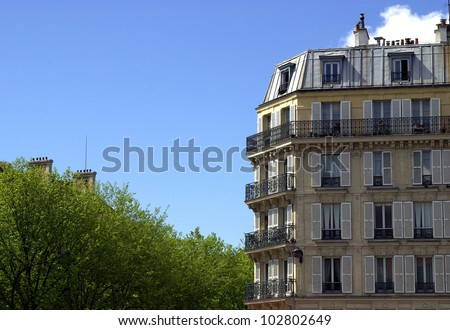 Image of a typical Parisian building - stock photo