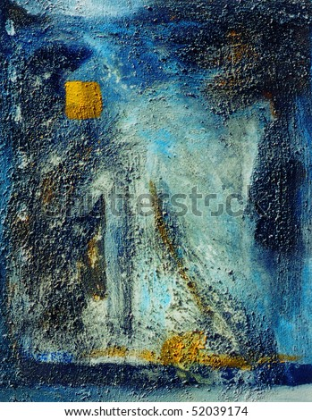 Image of a very mixed media oil Painting on canvas - stock photo