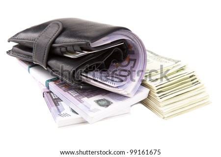 Image of a wallet  with euros and  dollars - stock photo