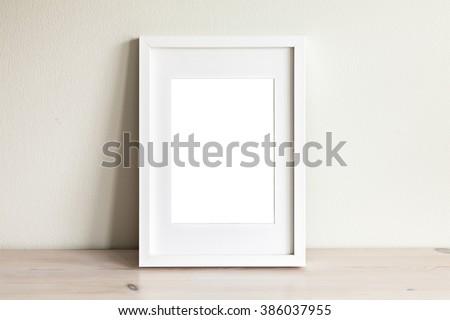 Image of a white frame mockup scene.  - stock photo