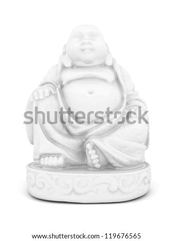 image of a white statue of Buddha and a lotus flower - stock photo