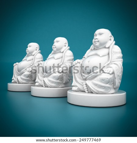 image of a white statue of Buddha on blue background - stock photo