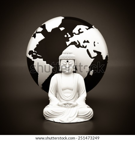 image of a white statue of Buddha on gray background. Black and white - stock photo