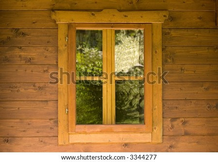Image of a Window on a wooden Cabin