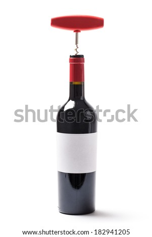 Image of a wine bottle and corkscrew isolated on white background.
