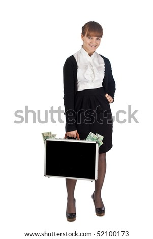 Image of a woman holding a briefcase overflowing with money - stock photo