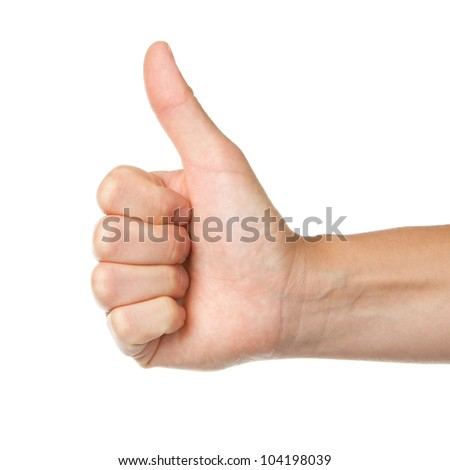 Image of a womans hand showing thumb up in isolation - stock photo