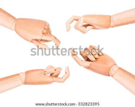 image of a wooden finger pointing  or touching isolated on a white background
