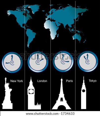 Image of a world map with clocks showing time of four cities (New York, London, Paris and Tokyo) and famous attractions in those cities - stock photo
