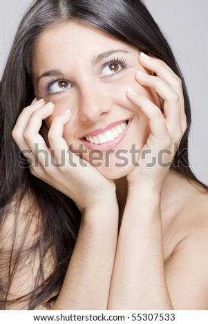 image of a young beautiful real brunete girl smiling - stock photo