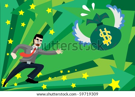 Image of a young business who is running to chase money bag. - stock photo