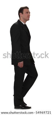 Image of a young businessman walking, isolated against a white background.