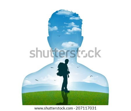 image of a young man leaving for his inner journey, just turning to say good bye - stock photo