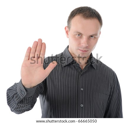 image of a young man stretches out his hand forward. Isolated on white background - stock photo