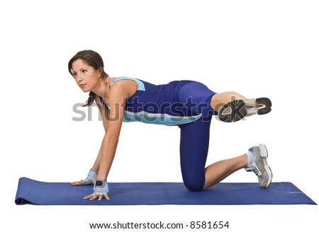 Image of a young woman doing stretching movements.