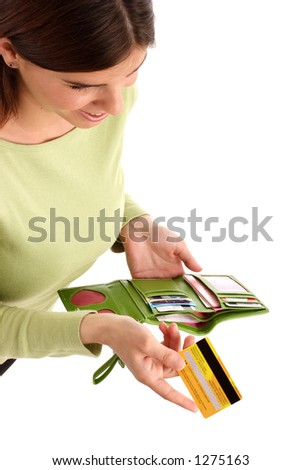 Image of a young woman holding credit card - stock photo