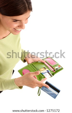 Image of a young woman holding credit card