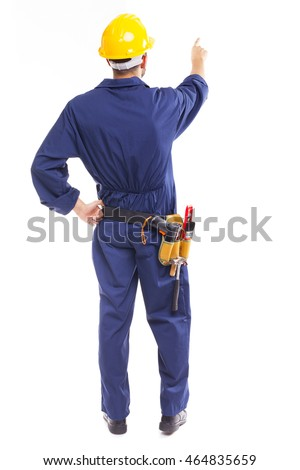 Image of a young worker pointing, isolated on white background