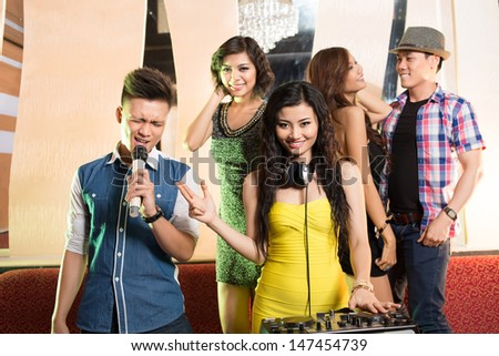 Image of a youngster'??s party in the night club - stock photo