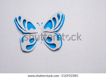 Image of abstract blue butterfly handmade.Eco background. - stock photo