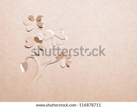 Image of abstract white flower handmade.Eco background.
