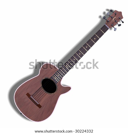 image of accoustic guitar with shadow and Clipping Path - stock photo