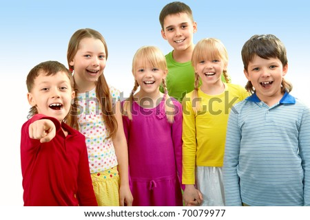 Image of adorable boys and girls looking at camera - stock photo