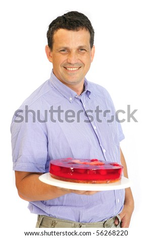 image of adult man enjoy red jelly cake