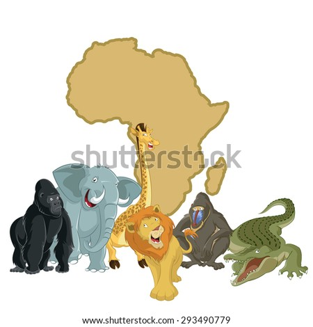 Image of Africa with cartoon animals - stock photo