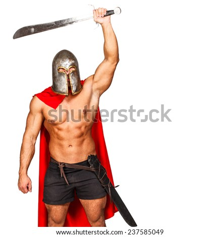Image of aggressive warrior with raised hand - stock photo