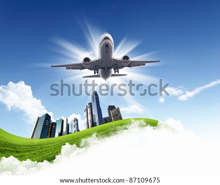 Image of airplane in blue cloudy sky