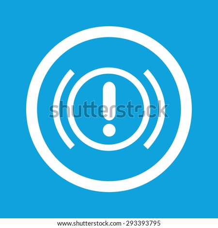 Image of alert sign in circle, isolated on blue - stock photo